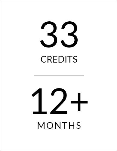 33 credit hours, 12+ month program